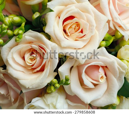 A beautiful bridal bouquet at a wedding party  - stock photo