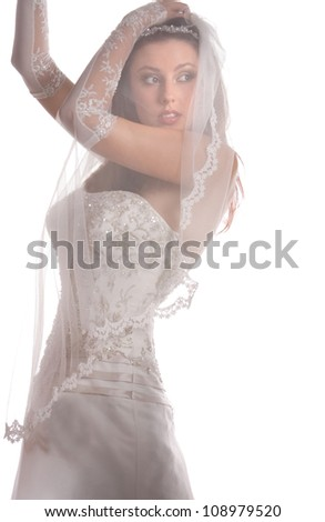 a beautiful bride in a wedding dress on a white background