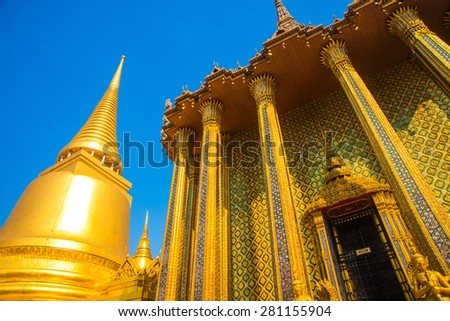 A beautiful Buddhist temple with gold in the capital of Thailand.Bangkok - stock photo