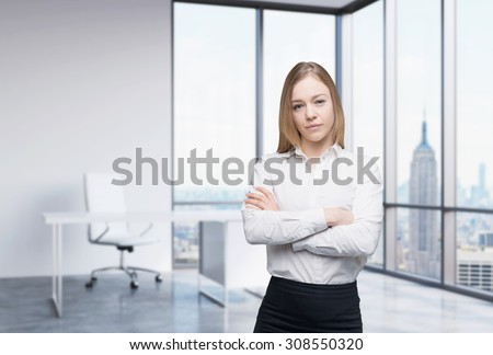 A beautiful business woman in a workplace at modern panoramic office in New York, Manhattan. A concept of financial consulting services. - stock photo