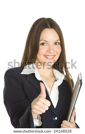 A beautiful businesswoman holding a clipboard. Isolated on white background - stock photo