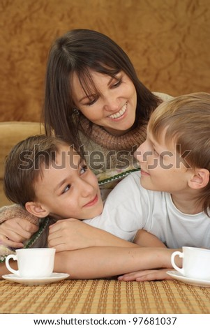 A beautiful Caucasian nice mother with two adorable brothers on a brown background
