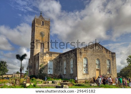 A beautiful church and cemetry in the country of Jamaica - stock photo