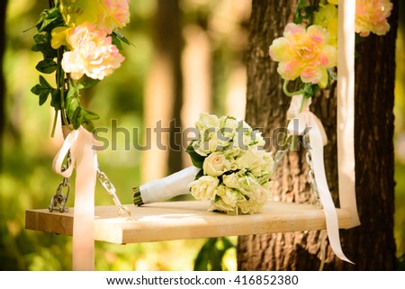 A beautiful colorful wedding bouquet for the bride.Details for marriage, and for spouses - stock photo