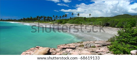 A beautiful day at the beach of Guanica Reserve in Puerto Rico - stock photo
