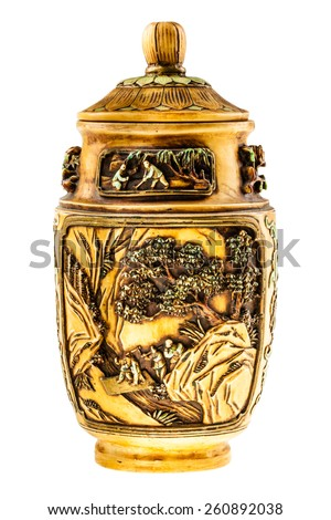 a beautiful decorated chinese urn isolated over a white background - stock photo