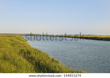 A beautiful evening on a waterway surrounding Tybee Island near Savannah Georgia. - stock photo