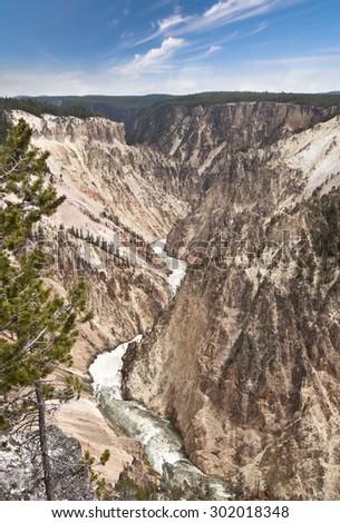 A beautiful falls view at yellowstone - stock photo
