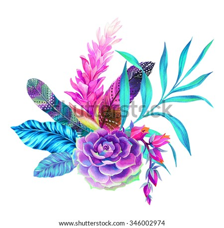 a beautiful floral bouquet with feathers. Very detailed botanical illustrations, with bohemian decorated feathers. succulents, palms, flowers. - stock photo