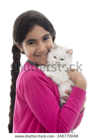 A Beautiful Girl and Her Cat Isolated on White Background - stock photo