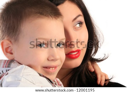 a beautiful girl and kid on the white background