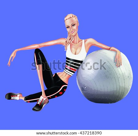 A beautiful girl athlete, he is sitting and resting on a medicine ball - stock photo