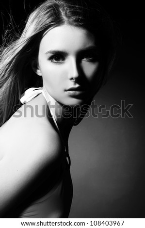 A beautiful girl black and white portrait