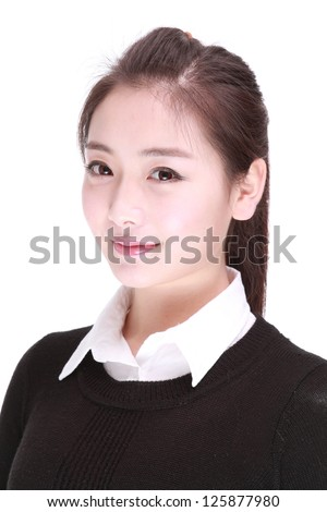 A Beautiful girl Isolated On a White background. - stock photo