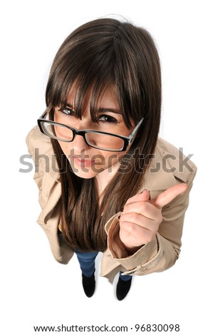 a beautiful girl looks in wide angle - stock photo