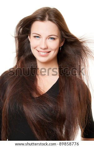 A beautiful girl with long hair, on a white background