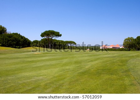 A beautiful Golf Course Green on a lovely suny day - stock photo