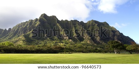 A beautiful green landscape of a mountain on Oahu in hawaii