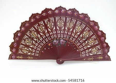 A beautiful hand-painted fan from Spain - stock photo