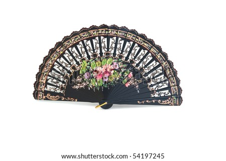 A beautiful hand-painted fan from Spain on the white background - stock photo