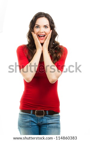 A beautiful happy surprised woman dressed in a red top. Isolated on white.