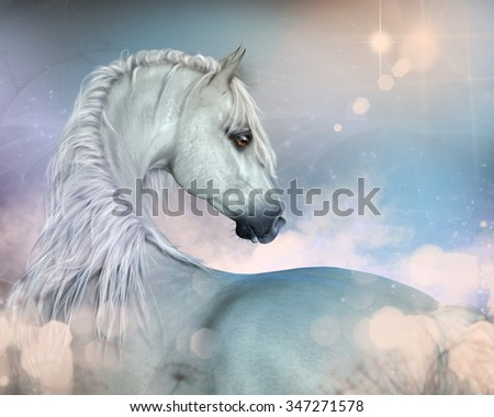 A beautiful  horse in profile with soft pastel colors all around. - stock photo