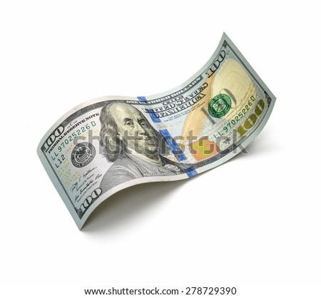 a beautiful hundred-dollar bill on a white background - stock photo