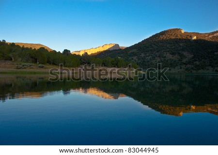 A beautiful image of Cave Lake.  A pretty lake located near Ely Nevada.