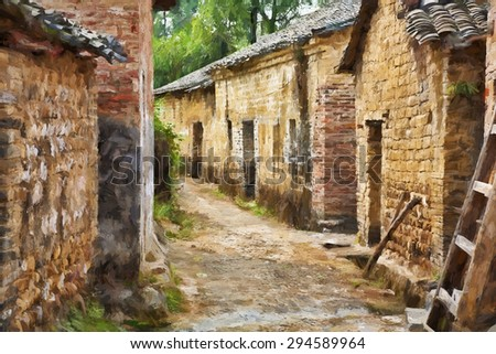A beautiful impressionist portrait of Jiangtou Ancient Village in Guangxi Zhuang Autonomous Region, China - stock photo