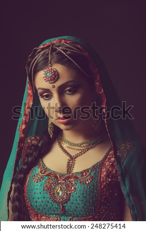 A beautiful Indian princess in national dress - stock photo