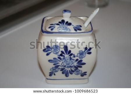Beautiful Japanese Porcelain Vase Spices Background Stock Photo