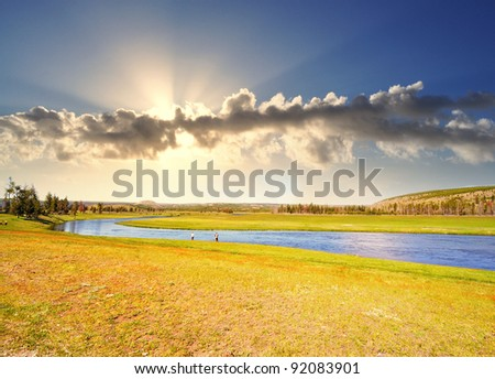 A Beautiful Landscape of Yellowstone - stock photo