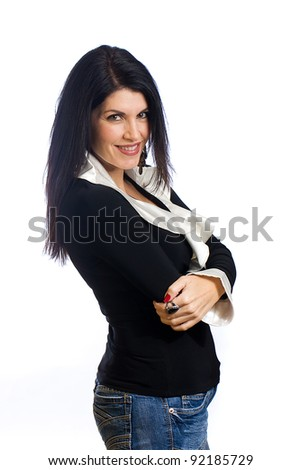 A beautiful middle aged woman with black hair. - stock photo