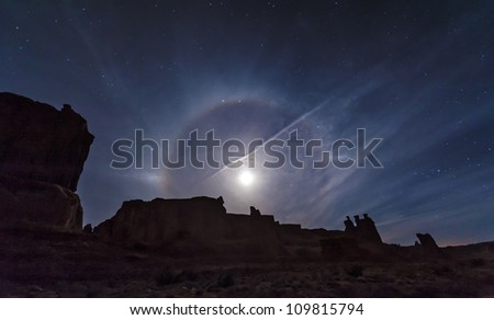 A beautiful moon ring over Arches National Park