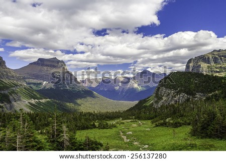 A beautiful mountain and valley in Montana - stock photo
