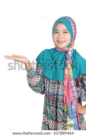 a beautiful muslim woman raise his hand isolated on white background