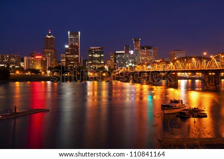 A Beautiful nightview of portland city - stock photo