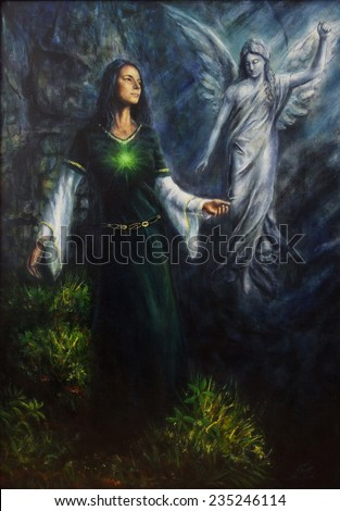 A beautiful oil painting of a mystical woman in historical dress having a visionary encounter with her guardian angel in a temple of nature  - stock photo