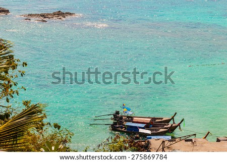 a beautiful seascape shot on a tropical beach in Phi Phi Island, Thailand, in the Andaman sea - stock photo
