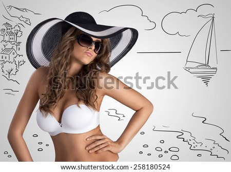 A beautiful sexy girl posing in white bikini and stylish sun hat on sketchy background with summer beach and yacht. - stock photo