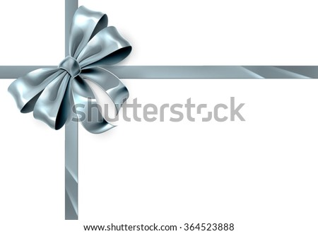 A beautiful silver ribbon and bow from a Christmas or other wrapping gift