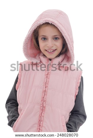 A Beautiful Smiling Girl in Pink Posing for Photo Isolated on White background - stock photo