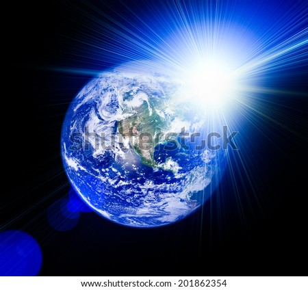 A beautiful space scene with planet and sun . Elements of this image furnished by NASA
