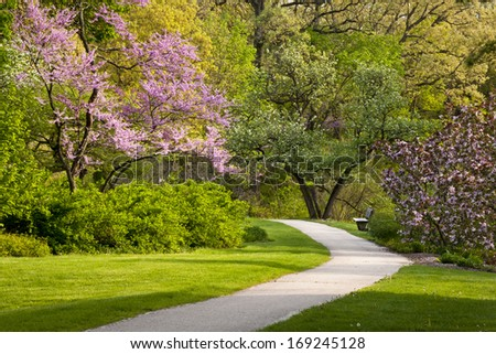 A beautiful spring day along the Joy Path at The Morton Arboretum in Lisle, Illinois. - stock photo