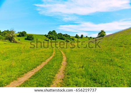 A beautiful spring landscape, a road, blooming grass, an unusual road in the highlands. Steppe. Ukraine. Nature