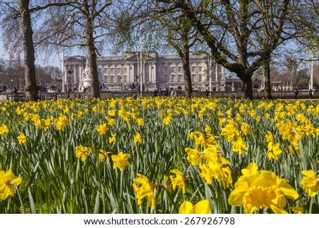 A beautiful Springtime view of Buckingham Palace from Green Park in London. - stock photo