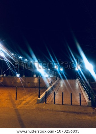 A beautiful street lights of a flyover bridge isolated unique photograph
