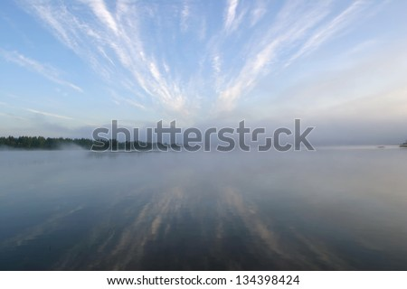 a beautiful sunrise on the river Belaua - stock photo