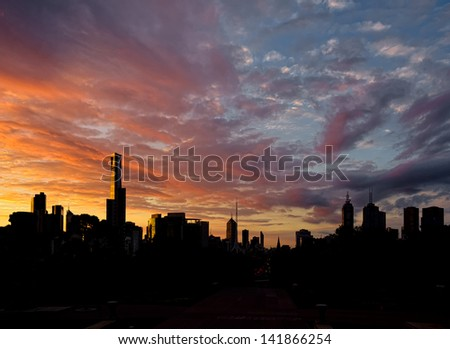 A Beautiful sunset over the Melbourne CBD, with buildings in background - stock photo