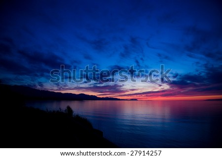 A beautiful sunset over the Strait of Juan de Fuca in Sequim, Washington.